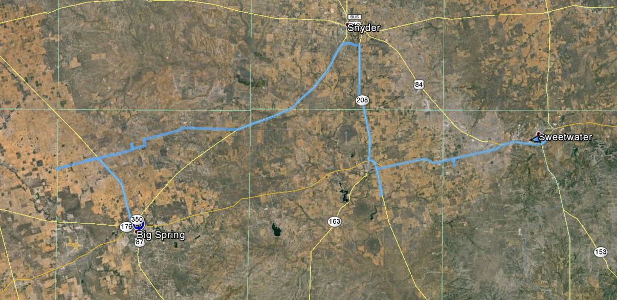 GPS Log from Big Spring, TX Chase Day 2015