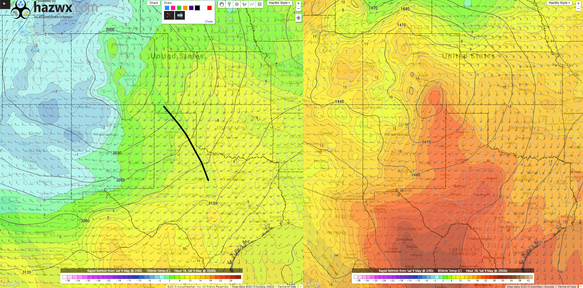 20z RAP 700mb Temps/850 Temps